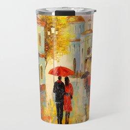 Rain in the city of love Travel Mug