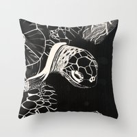 turtle Throw Pillows featuring Turtle by Wellydog