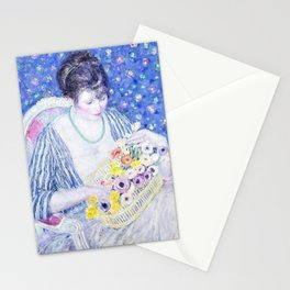 12,000pixel-500dpi - The Basket of Flowers - Frederick Carl Frieseke Stationery Cards