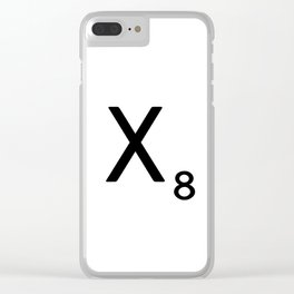 Letter X - Custom Scrabble Letter Tile Art - Scrabble X Initial Clear iPhone Case