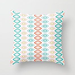 Mid Century Modern Geometric Shapes in Muted Colors Orange Coral, Pink, Blue, Teal, and Gold Throw Pillow