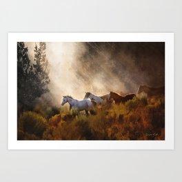 Horses in a Golden Meadow by Georgia M Baker Art Print