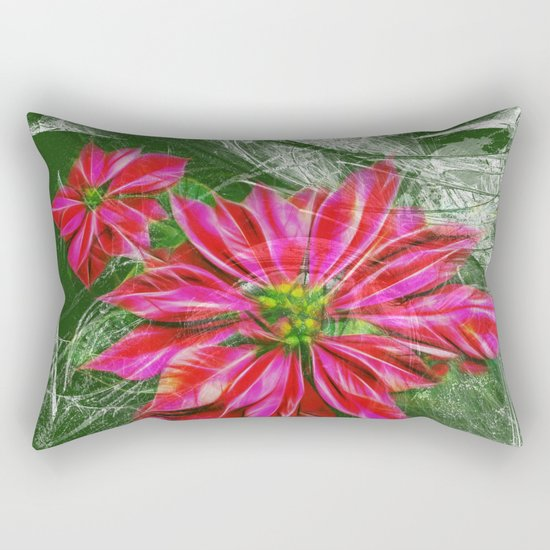 Abstract vibrant red poinsettia on green texture Rectangular Pillow