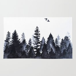 Forest Silhouette Watercolor Rug
