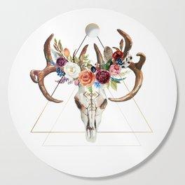 Geometric tribal floral bull skull Cutting Board