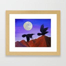 Moonlight Ravens' Flight Framed Art Print