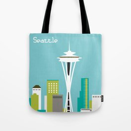 Seattle, Washington - Skyline Illustration by Loose Petals Tote Bag
