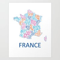 france Art Prints featuring France by Alexandra Dzh