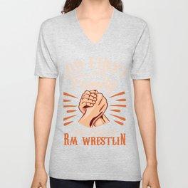 ARM WRESTLING: God Family And Wrestling Unisex V-Neck