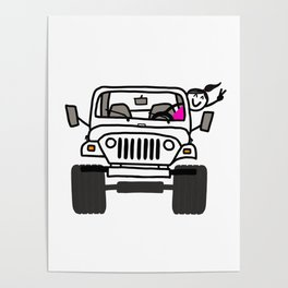 Jeep Wave White - Girl Poster
