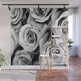 Black and White Roses Wall Mural