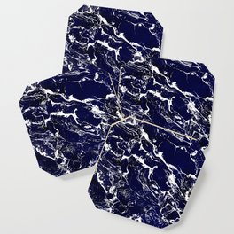 Modern Navy blue watercolor marble pattern Coaster