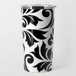 Flourish Damask Art I Black on White Travel Mug