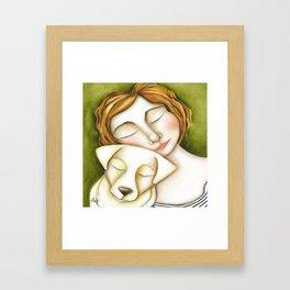 Dog Girl Puppy Love Original Artwork by Deb Harvey Framed Art Print