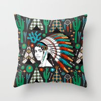 southwest Throw Pillows featuring Southwest by Vannina