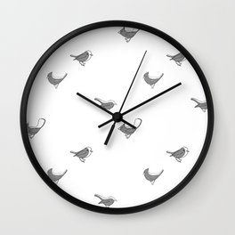 Bird Pattern- Black Wall Clock
