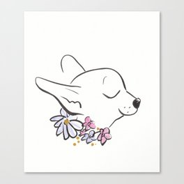 Sweet Chihuahua Dog with Flower Collar Canvas Print