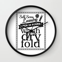 Black and White Retro Laundry Print Wall Clock