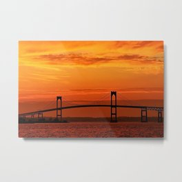 Newport Bridge - Newport, Rhode Island Orange Sunset Metal Print