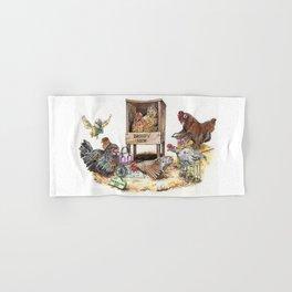 """Life in the Coop"" funny chicken watercolor Hand & Bath Towel"