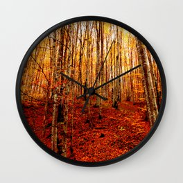 Red tree, fall forest, nature, leaves, golden yellow Wall Clock