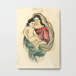 Vintage Tattoo Design with Madonna and Child Metal Print