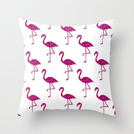 Sparkly flamingo Pink glitter sparkles pattern Throw Pillow