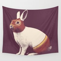 boxing Wall Tapestries featuring Lapin Catcheur (Rabbit Wrestler) by Florent Bodart / Speakerine