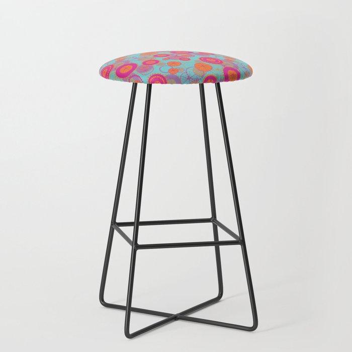 Spinning Wheels Pink Orange On Aqua Bar Stool By Orangepoppydesigns