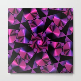 Abstract 344 a berry and black kaleidoscope Metal Print