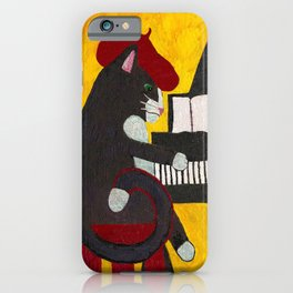 Tuxedo Cat Playing a Piano iPhone Case