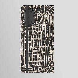 Doodle Crazy House Cozy dark grey Android Wallet Case