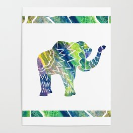 Patchwork Elephant Poster
