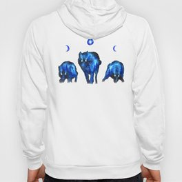 Full Moon Wolf Pack | Moon Phase Artwork | Lunar Phase Art | Space Wolves Hoody
