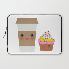 coffee in Paper thermo cup with brown cap and cup holder, chocolate cupcake. Kawaii Laptop Sleeve
