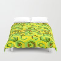 60s Duvet Covers featuring Back in the 60s neon green by MehrFarbeimLeben