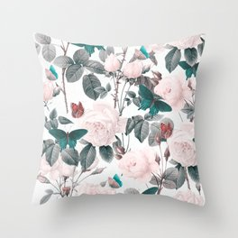 ROSES AND BUTTERFLIES Throw Pillow