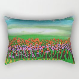 The meadow - A landscape in the background a blue sky and wildflowers Rectangular Pillow