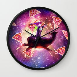 Rave Space Cat On Deer Unicorn - Pizza Wall Clock