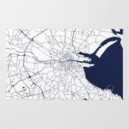 White on Navy Blue Dublin Street Map Rug