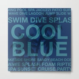 Summer Words Poolside and Palm Tree Hawaiian Graphic Design Metal Print
