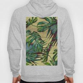 Tropical Palm Leaves on Wood Hoody