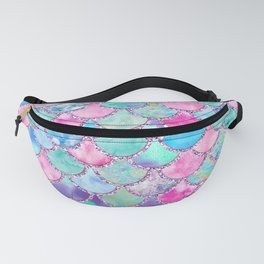Colorful Pink and Blue Watercolor Trendy Glitter Mermaid Scales Fanny Pack