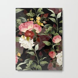 Floral Flower Pattern Watercolor White Pink Flowers Black Background Metal Print