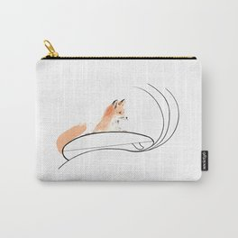 Surfing Fox, Animal Surfing, Red Fox on Surfboard, Surf Art Carry-All Pouch
