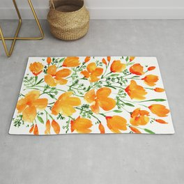 Watercolor California poppies Rug