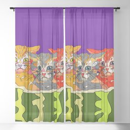 Cats in Watermelon Jacuzzi - Tropical Sheer Curtain
