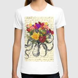 Octopus Attacking Flowers T-shirt
