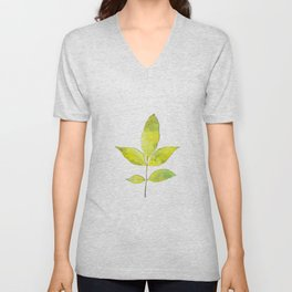 leaves painted with watercolor . designer paintings for eco-style . eco style interior . Sustainable Unisex V-Neck