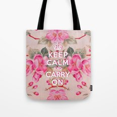 Pink Girly keep Calm and Carry on Vintage pink elegant floral roses Tote Bag